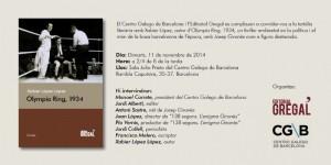 Invitación presentación Olympia Ring 1934 Centro Gallego 11 11 2014