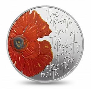 Moneda con amapola y lema